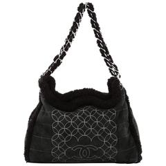 Chanel Embroidered CC Chain Tote Quilted Suede and Shearling