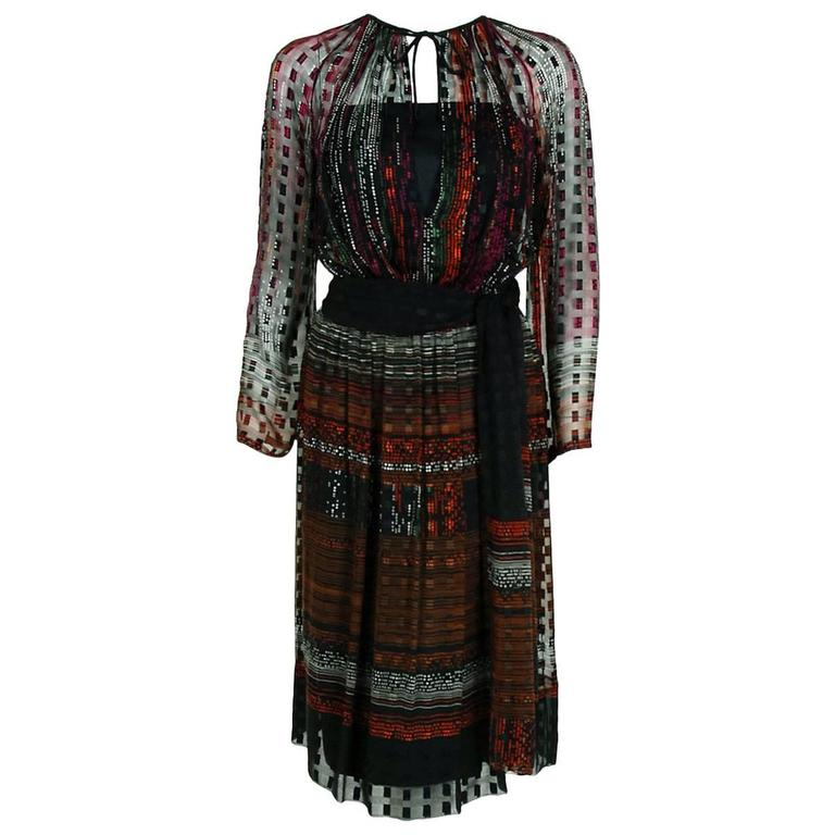 1970's Pauline Trigere Colorful Abstract Deco Print Silk Bohemian Belted Dress