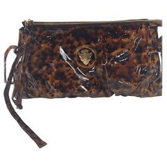 Gucci Tortoiseshell Print Patent Leather Hysteria Clutch Bag