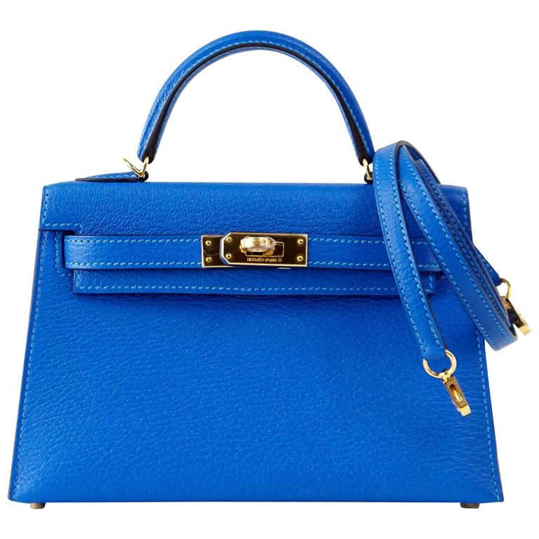 Hermes Kelly Bag 20 Mini Kelly II Blue Hydra Chevre Gold Hardware