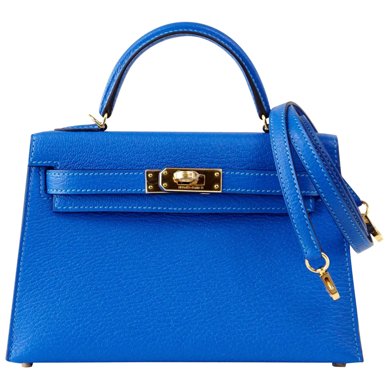 afd84abb313a Hermes Kelly Bag 20 Mini Kelly II Blue Hydra Chevre Gold Hardware at 1stdibs