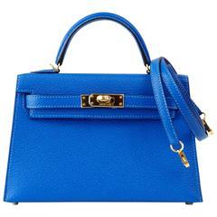 HERMES KELLY Bag Rare Limited Edition VIP 20 Mini Kelly II Blue Hydra Chevre