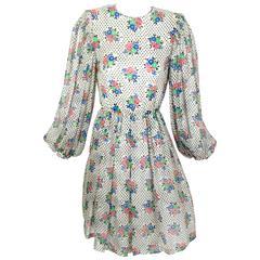 1970s Galanos Floral Dot print  Billow Sleeve Cut-Out Back Silk Cocktail Dress