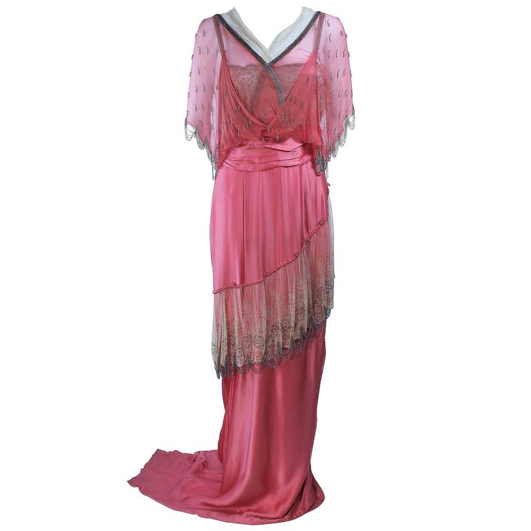 VINTAGE VICTORIAN Pink Silk Gown with Silver Hand Beaded Applique Size 2 4 1