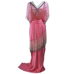 VINTAGE VICTORIAN Pink Silk Gown with Silver Hand Beaded Applique Size 2 4