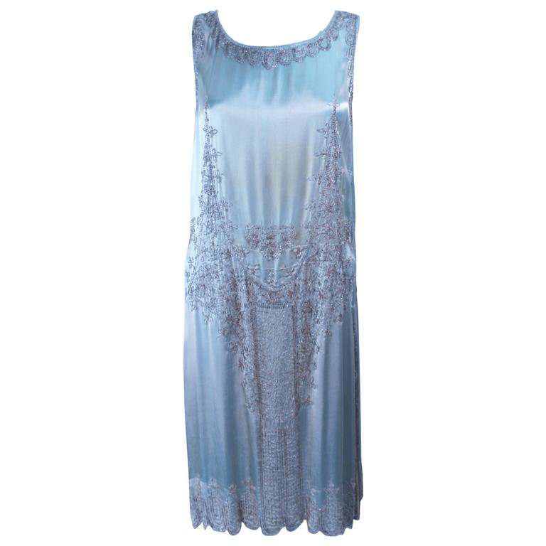 Vintage 1920's Aqua Silk Cocktail Dress with Hand Beaded Applique Size 2 4 6