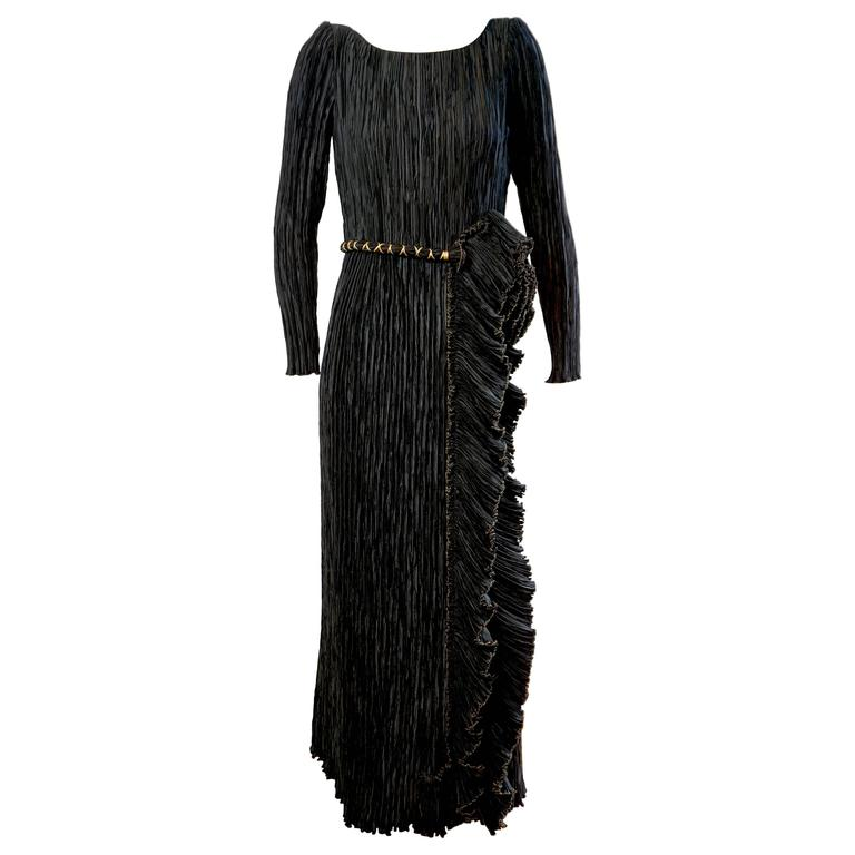 MARY MCFADDEN Black & Gold Pleated Ruffle Gown