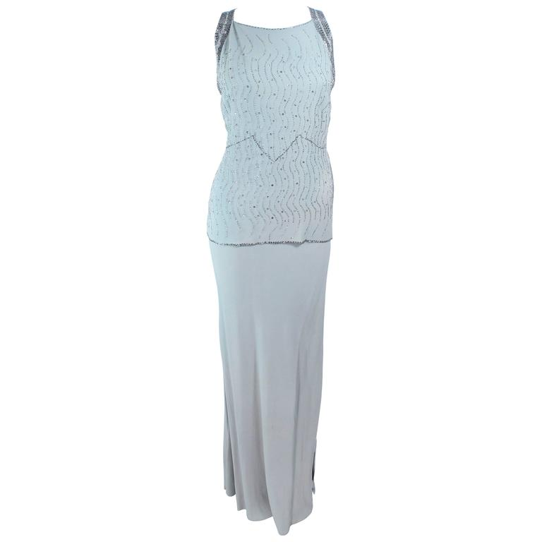 VINTAGE 1930'S Aqua Silk Bias Gown with Silver Hand Beaded Applique Size 2 4