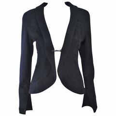 SHEPTIM ZERO Black Double Cashmere Runway Riding Coat with Lace Applique Size 2