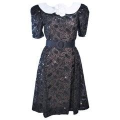 ARNOLD SCAASI Belle De Jour Black Sequin Lace Cocktail Dress Size 10 8