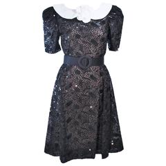 ARNOLD SCASSI Belle De Jour Black Sequin Lace Cocktail Dress Size 10 8