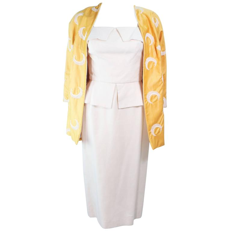 DON LOPER 1950's Yellow Silk embroidered Coat and Dress Ensemble Size 2