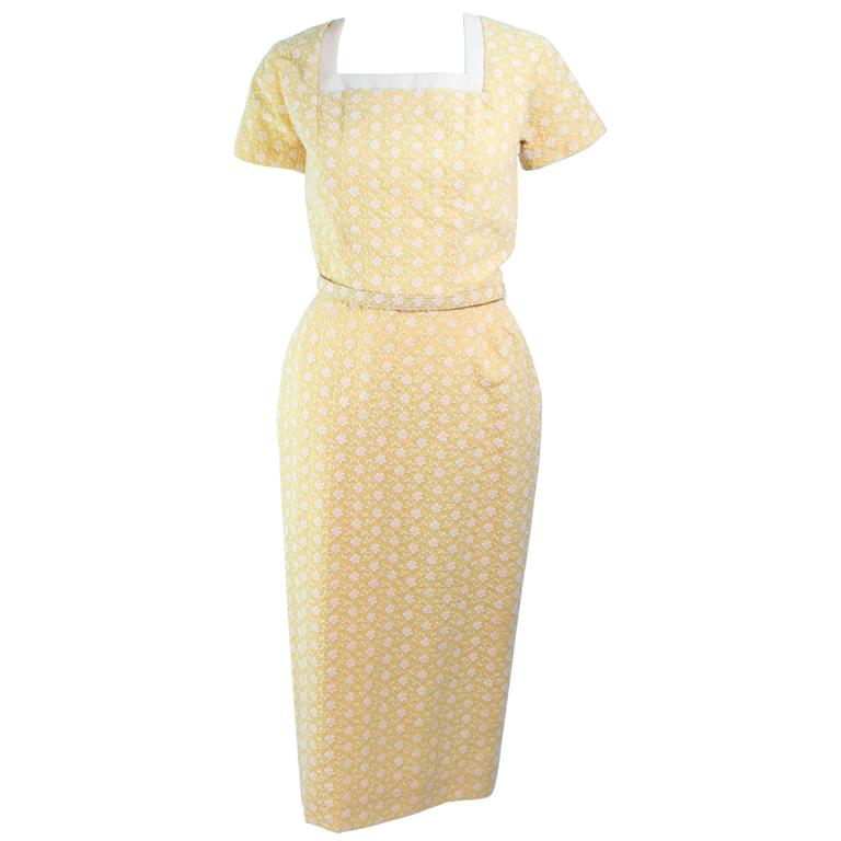 DON LOPER 1950's Yellow Floral Embroidered Cocktail Dress with Belt & Bow Size 2