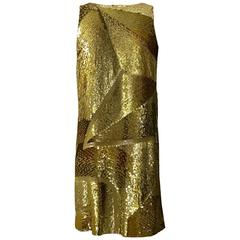 Emilio Pucci Gold Sequin Pucci Print Sleeveless Shift Dress