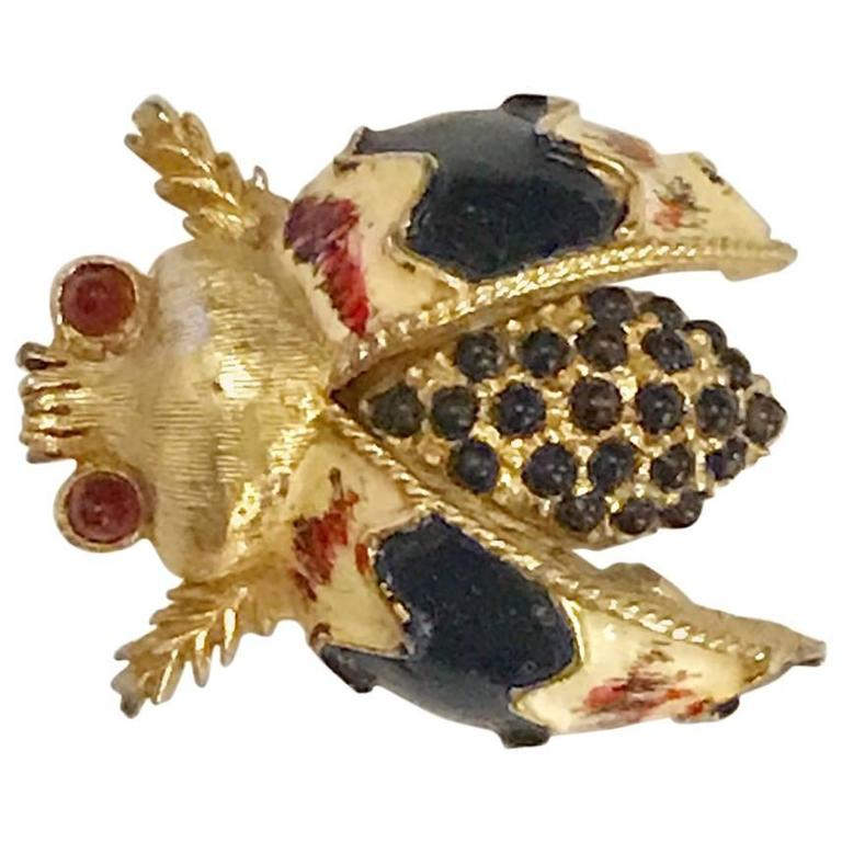 Hattie Carnegie Signed Vintage Gold Tone Bug Bee Insect Fly Pin Brooch 1