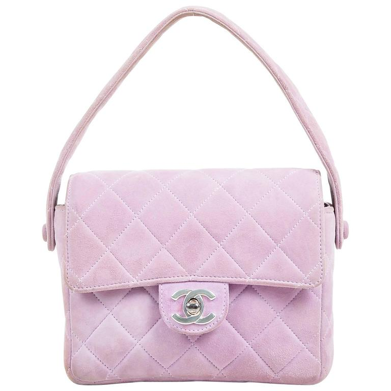Chanel Lavender Purple Suede Quilted Turn Lock Mini Flap Purse Bag 1