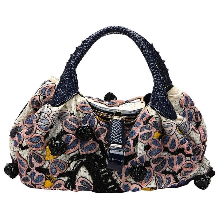 2000s FENDI Multicolour Embelished Floral Spy Bag For Sale