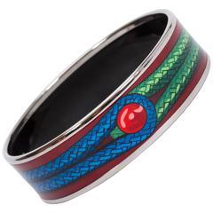 Hermès Burgundy Knot Enamel Bangle Bracelet