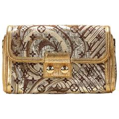 Louis Vuitton Gold Monogram Brocade Thalie Clutch, 2000s