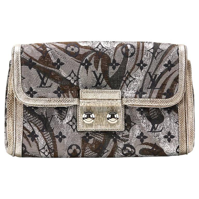 Louis Vuitton Silver Monogram Brocade Thalie Clutch, 2000s