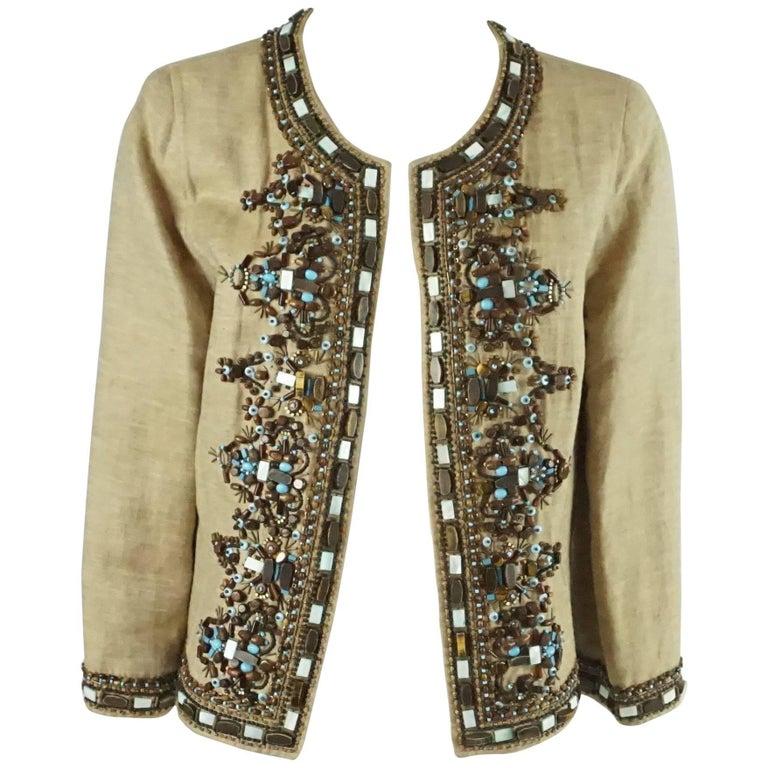Oscar de la Renta Tan Linen Jacket with Wooden Beads- 8