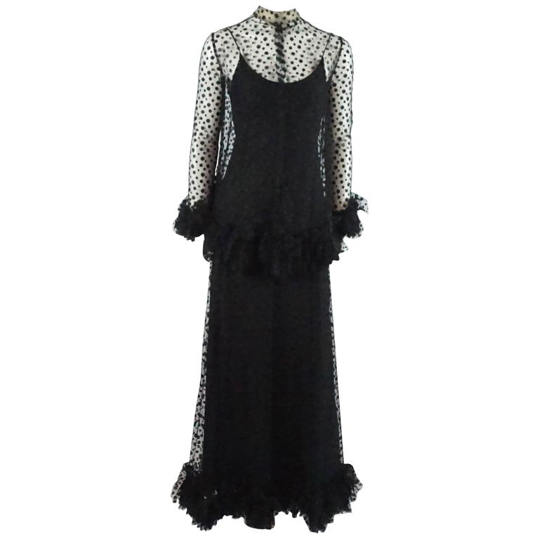 Alfred Bosand Black Point D-Esprit Gown and Cape with Ruffles - M - 1960's