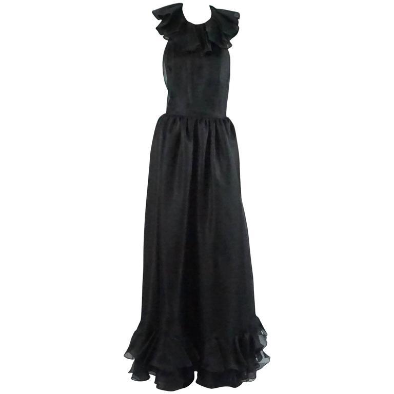 Oscar de la Renta Black Linen Halter Gown with Ruffles - 10 - 1990's  1
