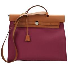 2014 Hermès Natural Leather & Tosca Canvas Herbag Zip