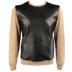 DSQUARED2 Size XL Tan Wool / Silk Black Leather Front Crewneck Pullover Sweater