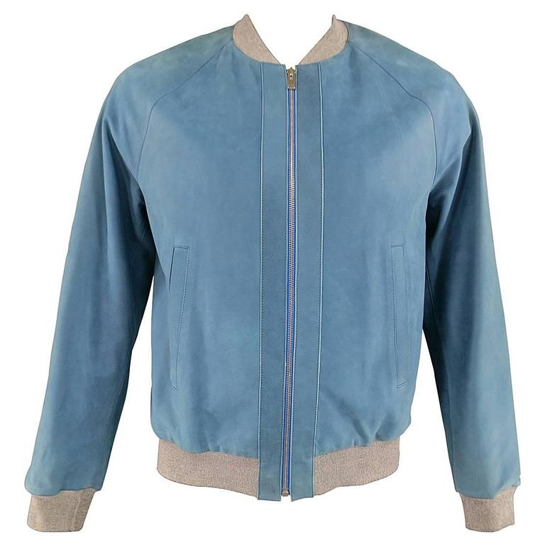 Men's BALENCIAGA 42 Light Teal Blue Leather Gray Cuff Bomber Jacket 1