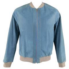 Men's BALENCIAGA 42 Light Teal Blue Leather Gray Cuff Bomber Jacket