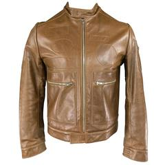 Men's VERONIQUE BRANQUINHO 40 Light Brown Leather Blank Patch Moto Jacket