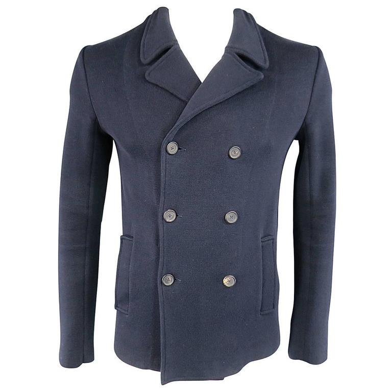 JIL SANDER 40 Navy Cotton Soft Shoulder Knit Double Breasted Peacoat Jacket