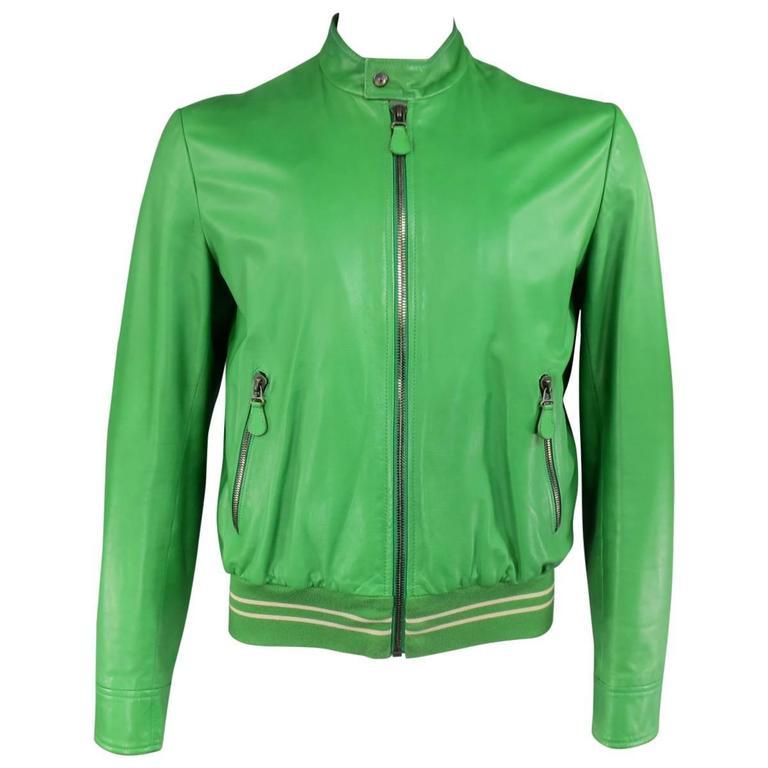 Men's BOTTEGA VENETA 40 Green Leather Motorcycle Bomber Jacket For ...