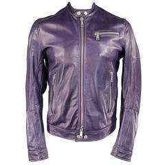 Men's DSQUARED2 42 Purple Leather Snap Collar Zip Motorcycle Jacket