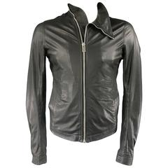 Men's RICK OWENS 38 Black Soft Leather Asymmetrical Zip High Collar Moto Jacket