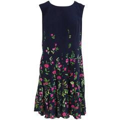 Oscar de la Renta Navy and Floral Print Silk Sleeveless Dress - 10