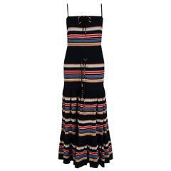 1977 Christian Dior Documented Colorful Stripe Cotton-Knit Bohemian Dress
