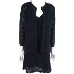 Prada Navy Crochet Knit Dress and Cardigan Set - 44