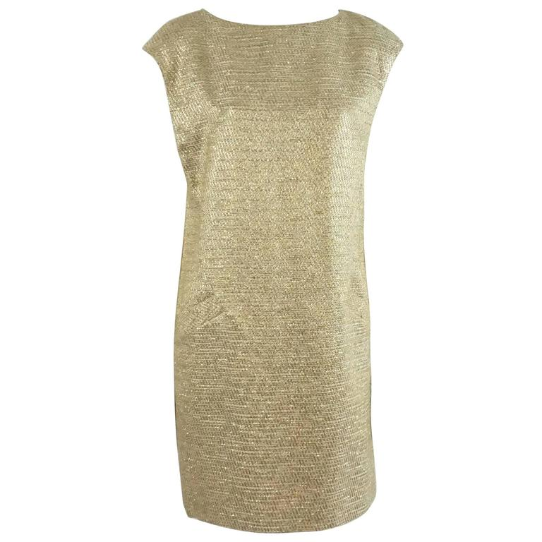 Michael Kors Gold Metallic Shift Dress with Pockets - 10 1