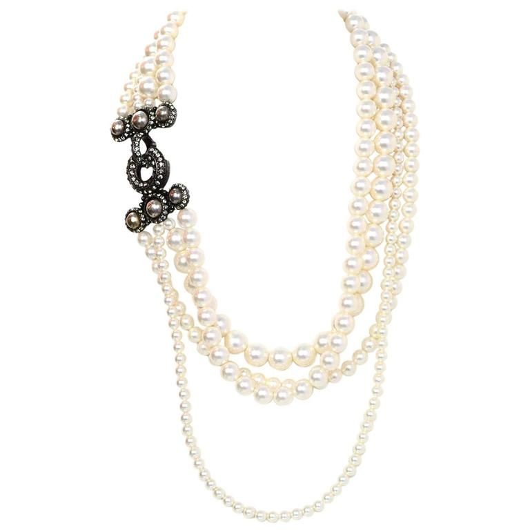 Lanvin Pearl Necklace: Lanvin Multistrand Faux Pearl Necklace W/ Crystal Clasp Rt