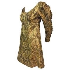1960s Stella Roma Brocade Mini Dress w Fitted Button Sleeve and Leg O'Mutton