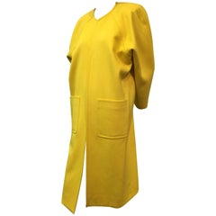 1980s Canary Yellow Wool Coat with Deep Hip Pockets and Raglan Sleeves