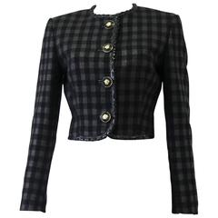 Rare Gianni Versace Couture Metallic Checked Jacket With Patent Leather 1995