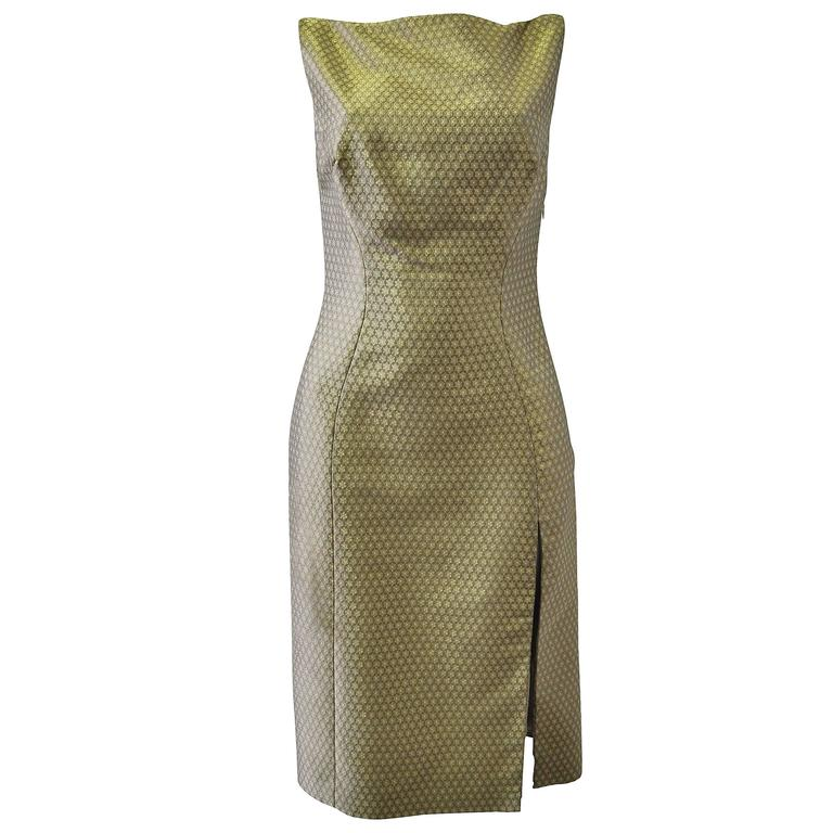 Istante By Gianni Versace Brocard Metalisse Dress 1990's