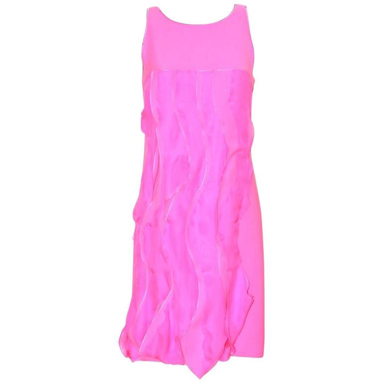 Bottega Veneta Hot Pink Sleeveless Dress - Hot Pink Silk - FR 40 FR  1