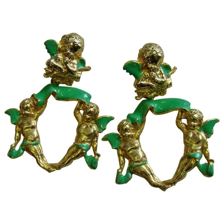 Very Rare Gianni Versace Ugo Correani Cherub Drop Earrings 1990