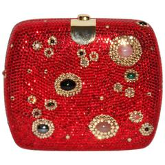 Judith Leiber Red Crystal Minaudiere Gold-tone Frame