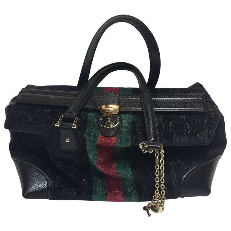 Gucci Black Velvet Treasure Boston Bag For
