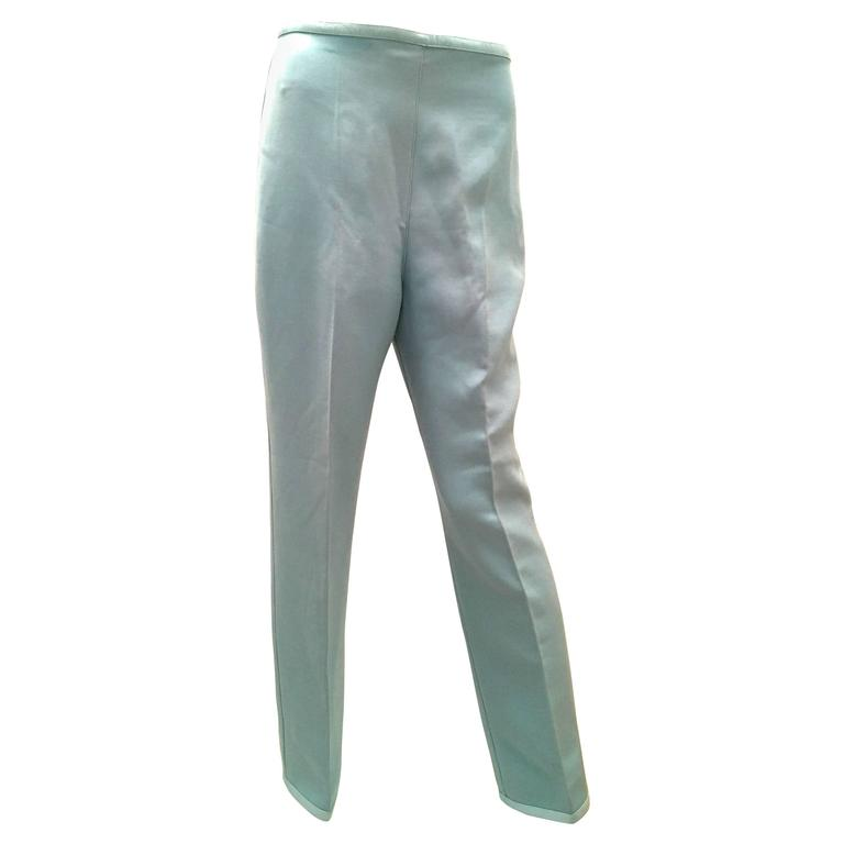 Courreges White Blue Wool with Patent Leather Trim Pants